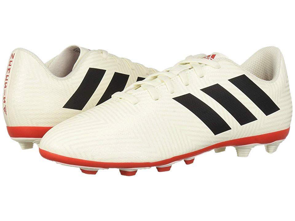 d7d7b749d adidas Kids Nemeziz 18.4 FXG Soccer (Little Kid Big Kid) Kids Shoes Off- White Black Active Red