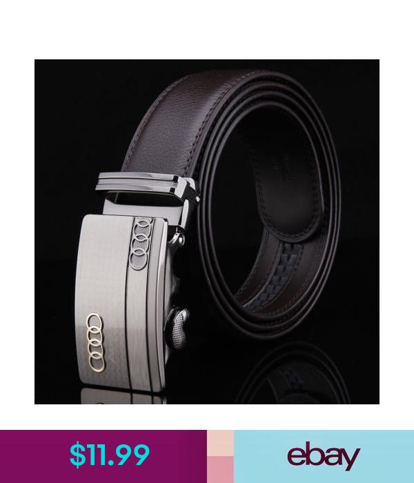 Luxury Leather Men/'s Automatic Buckle NO Waist Strap Belt Waistband MY