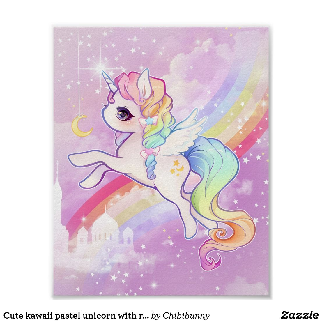 Cute Kawaii Pastel Unicorn With Rainbow And Castle Poster Zazzle