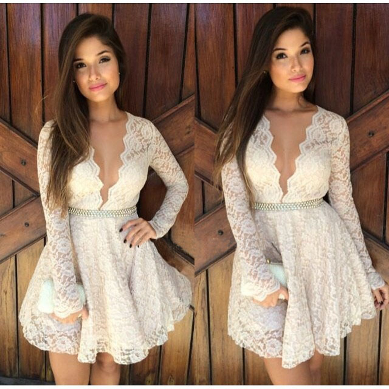 White floral lace plunge dress