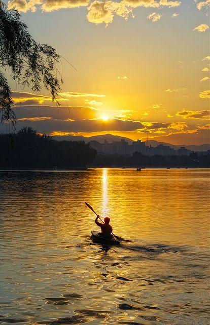 3. canoe as the sun sets