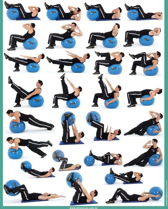 More stability ball exercises, concentrating on the abs.