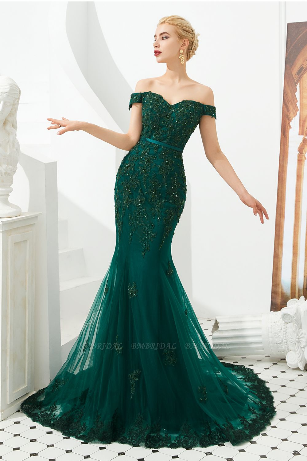 Bmbridal Off The Shoulder Green Prom Dress Long Mermaid Evening Gowns With Lace Appliques Green Prom Dress Long Green Formal Dresses Green Prom Dress [ 1500 x 1000 Pixel ]