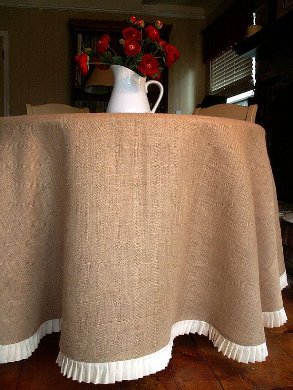 78 Round Burlap Round Table Cloth With a Pleated by SimplyAsThat