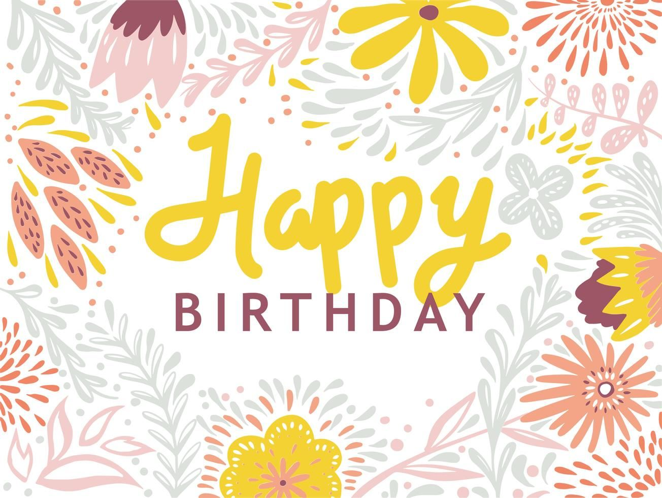Free Download Happy Birthday Typography Floral Greetings Card Template In 2020 Happy Birthday Typography Birthday Typography Greeting Card Template
