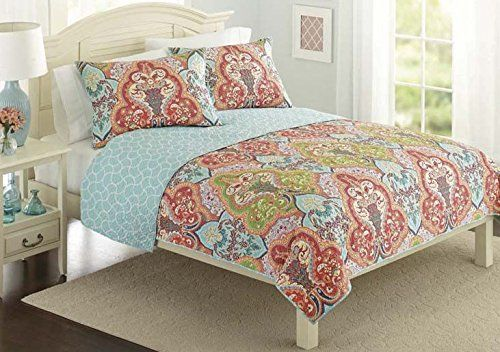 Get This Turquoise Coral Tropical Beach Quilt Bedding Set It Features Bright Colors And A Colorful Tropical Quilt Sets Bedding Coral Bedding Damask Bedding