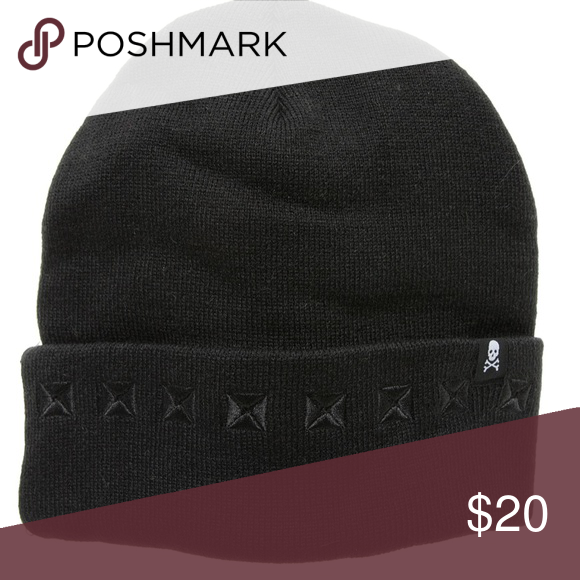 Sourpuss Black Stud Knit Hat NWT. This isn t your average beanie - it s  amped up with black pyramid embroidery all along the fold e4946f3d3cc