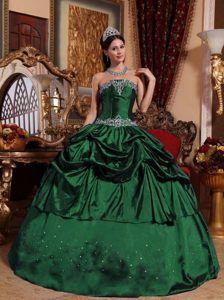 28cde5a804 Modest Strapless Dark Green Taffeta Quinceanera Dresses