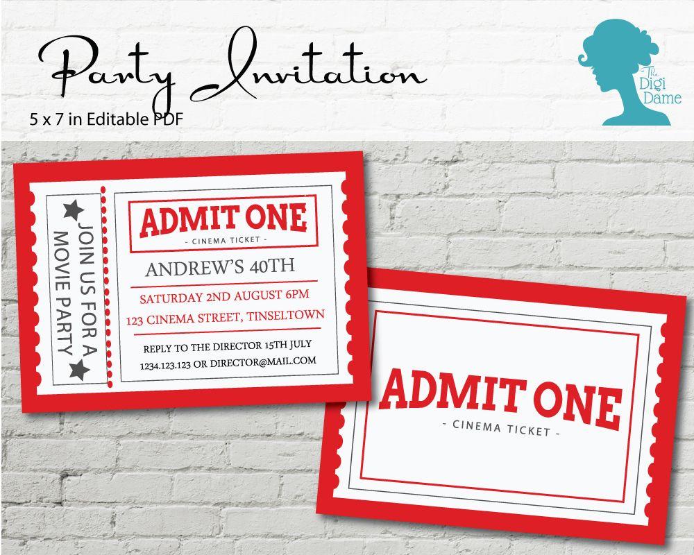Movie Cinema Ticket Party Invitation $10AUD by The Digi Dame ...