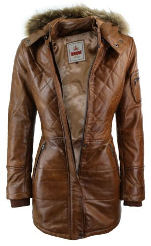 Ladies Tan Brown Real FUR HOODED Parka Real Leather Jacket Winter ...