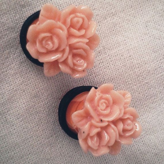00g 10mm Bright Peach Cluster Roses Acrylic Plugs by Glamsquared, $20.00