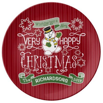 #Snowman Happy Christmas Typography Custom Banner Plate - #Xmas #ChristmasEve Christmas Eve #Christmas #merry #xmas #family #kids #gifts #holidays #Santa