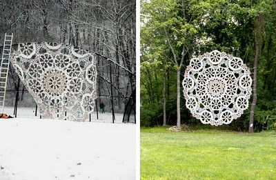 doilies in the woods...beautiful
