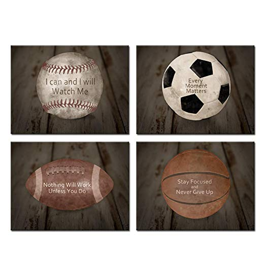 9 Football Picture Inspirational Sports Print Motivation Quote Artwork Poster