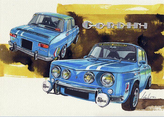 Renault Gordini Greeting Card For Sale By Yoshiharu Miyakawa Motorsport Art Car Painting Car Drawings