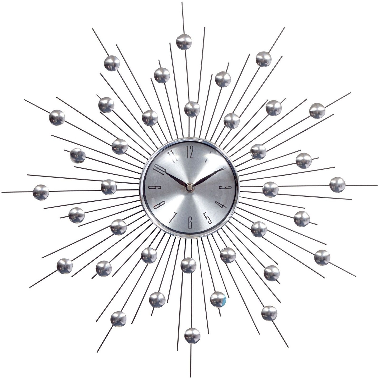 Silver Starburst Wall Clock Retro Modern EEI761 By LexMod Home