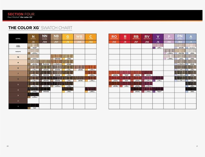 Paul Mitchell The Color Chart Color Swatch Chart Color Xg John Paul Mitchell Systems In 2020 Color Chart Chart Paul Mitchell