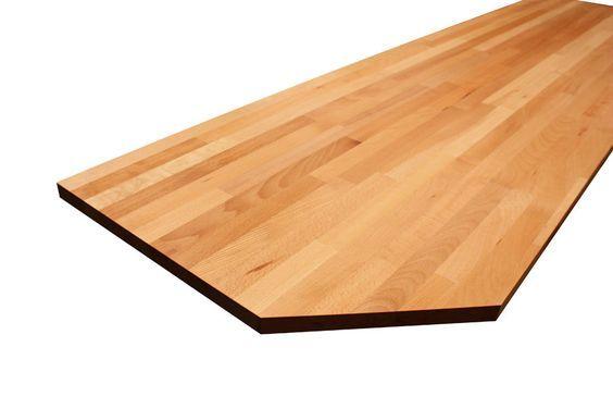 Eine erstklassige Arbeitsplatte aus Buche mit abgeschrägten Ecken - küchenarbeitsplatte buche massiv