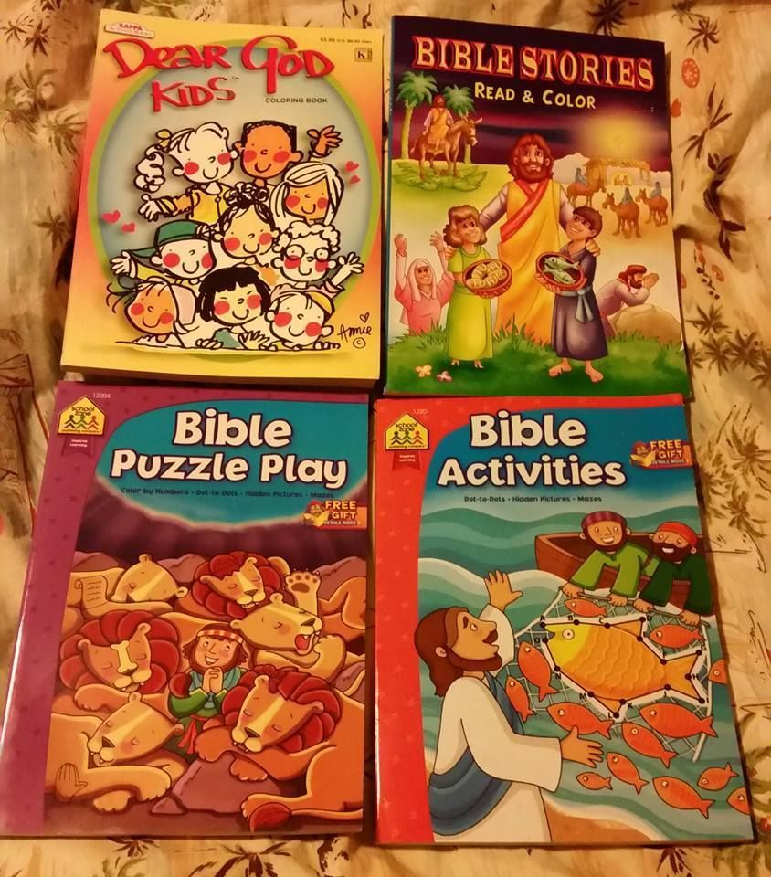 LOT 4 VG UNUSED Bible Coloring & Activity Books Homeschool Pre-K K ...