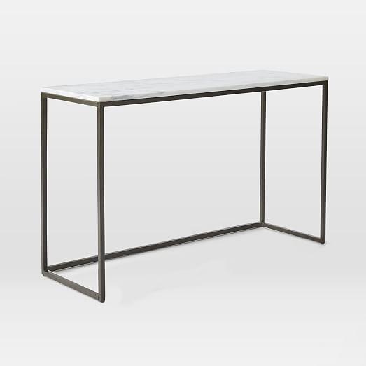 Rollins Industrial Loft Bronze Iron Console Table: Box Frame Console - Marble/Antique Bronze