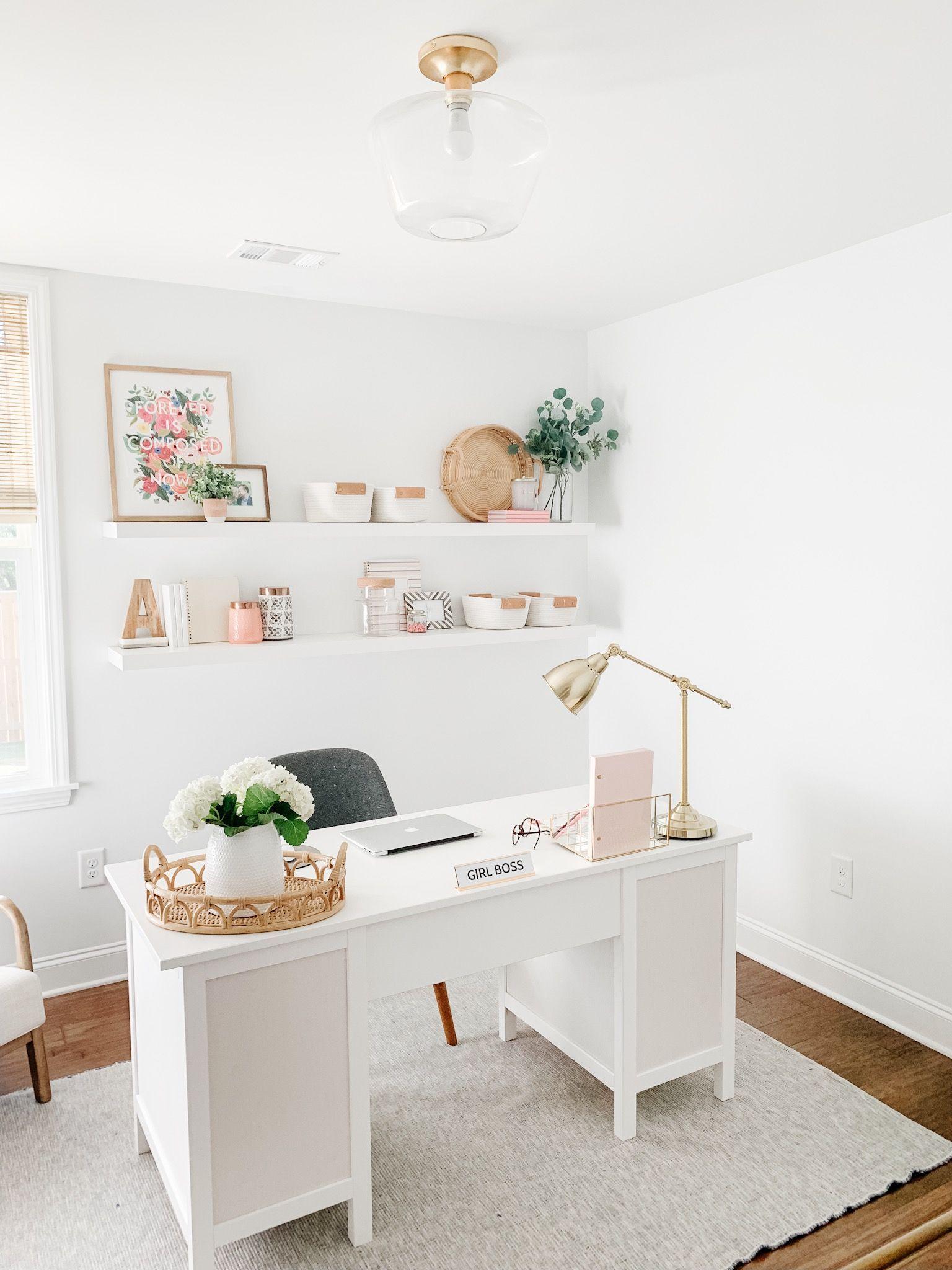 Female Modern Home Office White Office Decor Home Office Design Feminine Home Offices