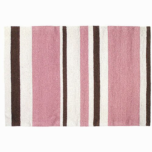 Pink And Brown Striped Area Rug