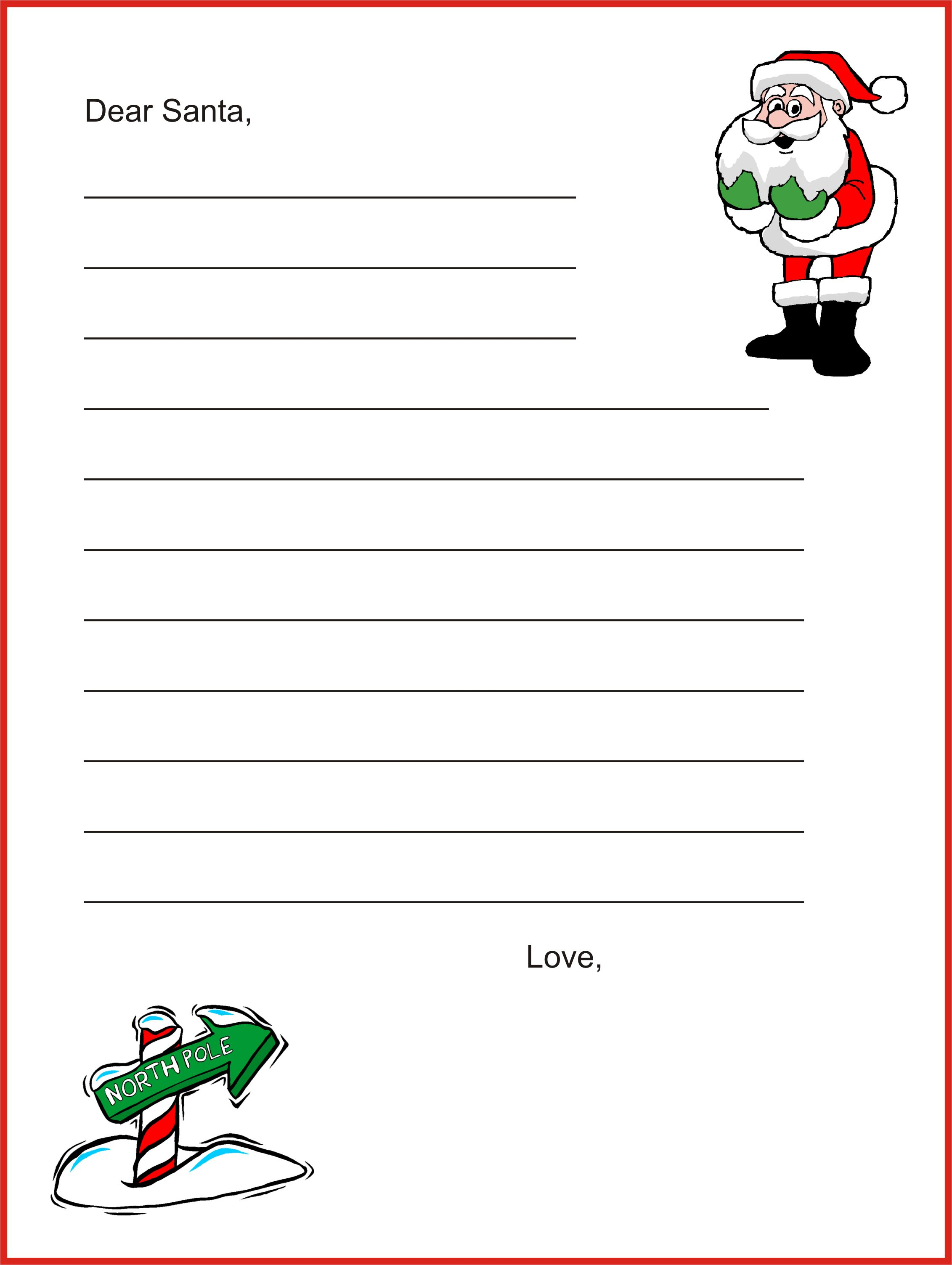 A free template for kids to write a letter to Santa Claus From – Christmas Letter Templates Free