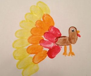 fingerprint turkey Super cute turkey craft for kids preschool