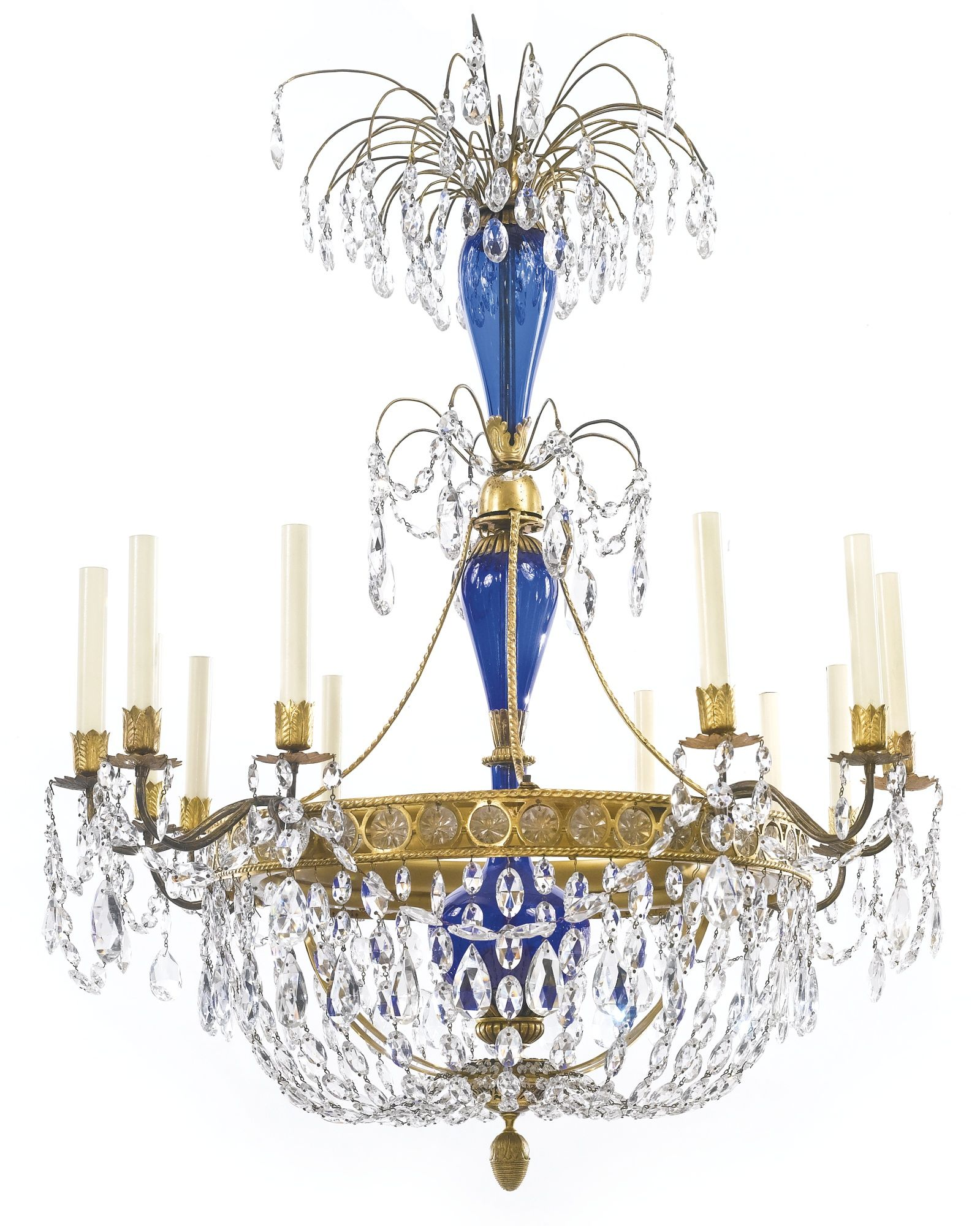 A Russian Neoclassical cut glass mounted ormolu and blue glass