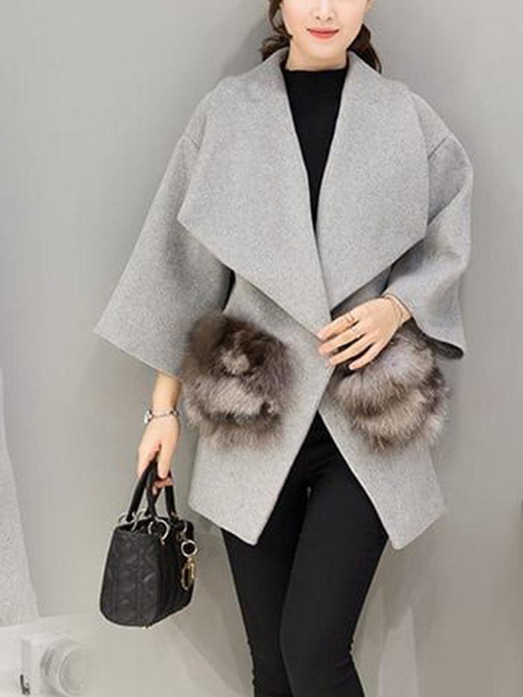 f088ac042146 Solid Color Loose Woollen Fur Callor Coat   Products in 2019   Coats ...