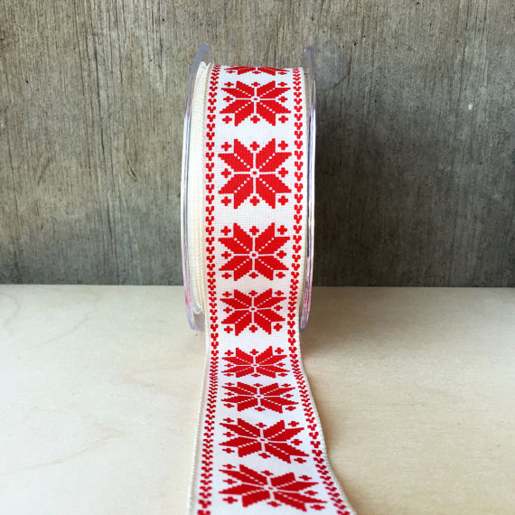 Scandinavian Snowflake Wired Ribbon Red On Ivory Winter Christmas Holiday Gift Wrap Scandi Style 2 Yards Wired Ribbon Snowflake Pattern Scandi Style