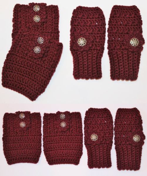 Leg Warmers 163587: Handmade Crochet Set Burgundy Finger Less Gloves Hand Warmers And Boot Cuffs -> BUY IT NOW ONLY: $32.99 on eBay!