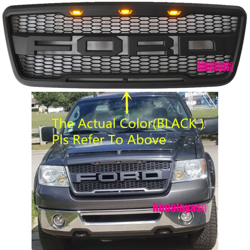 04 08 Ford F 150 F150 Raptor Style Conversion Grill Grille Hood W Fr 3 Leds New Cars Trucks Ford F150 Ford