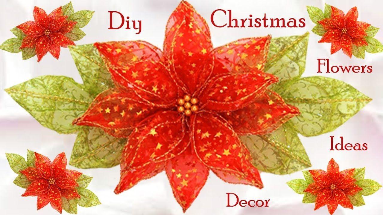 Como Hacer Flores Nochebuena Ideas Para Decorar En Navidad Diy Christmas Tejido Tallermanu Christmas Flowers Making Fabric Flowers Christmas Crafts Decorations