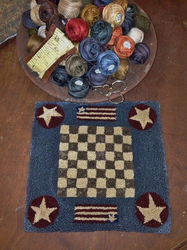 PRIMITIVE PUNCH NEEDLE PATTERN ~ GAME BOARD SERIES BACKGAMMON