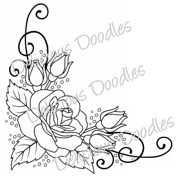 Rose Border Drawing Google Zoeken Flower Sketches