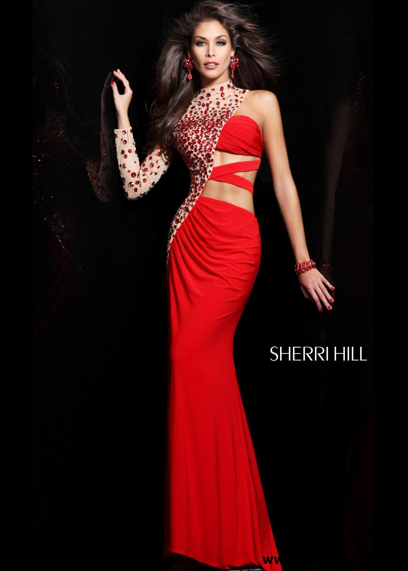Find sherri hill red long sleeve beaded dresses at rissyroos