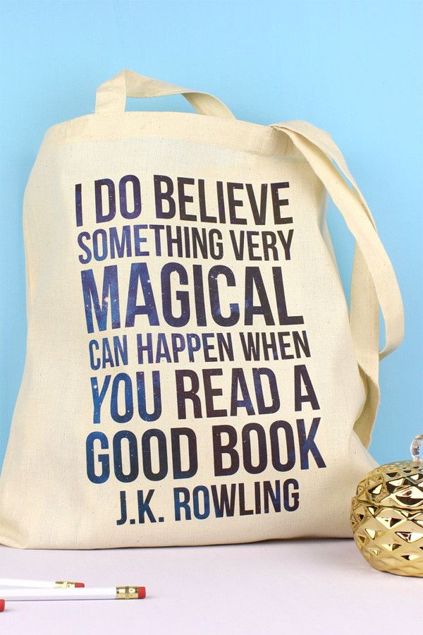 I do believe that something very magical can happen when you read a book // Tote Bag with J.K Rowling Quote on Reading