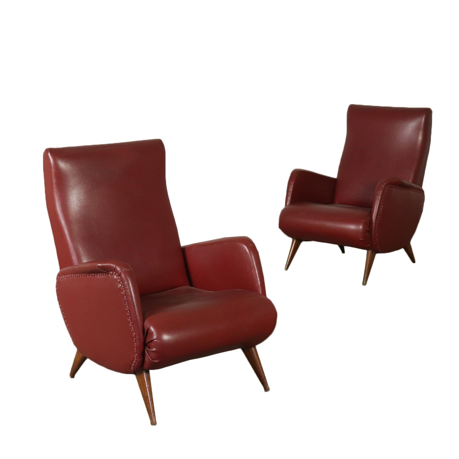 Vintage Pair Of Armchairs Foam Leatherette Vintage Manufactured In Italy 1950s A Pair Of Armchairs Foam Padding Fauteuil Vintage Fauteuil Fauteuil Année 50
