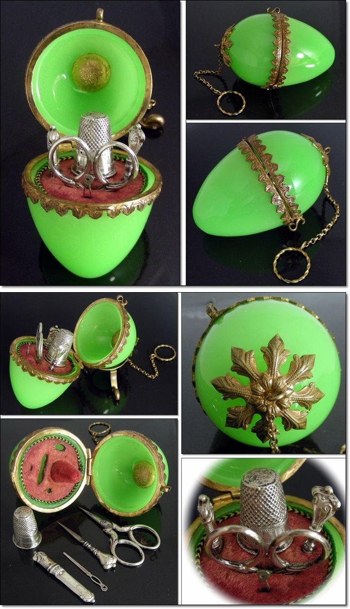 Victorian Antique Apple Green Opaline