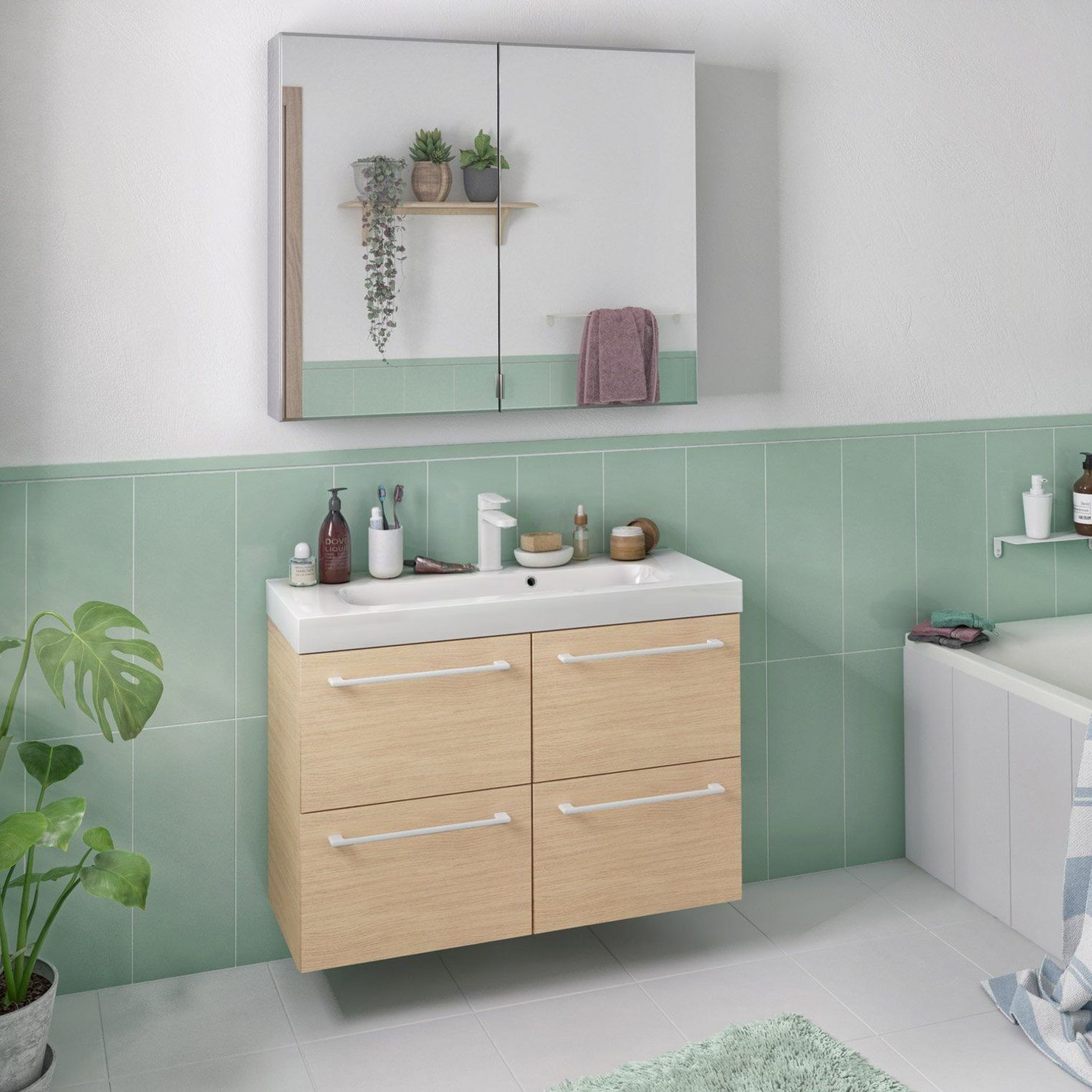 Meuble De Salle De Bains Remix L 91 Chene Naturel Simple Vasque 4 Tiroirs H 58 X L 91 X L Creative Bathroom Design Bathroom Design Scandinavian Bathroom