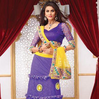 Light Purple Net and Jacquard net Lehenga Choli with Dupatta