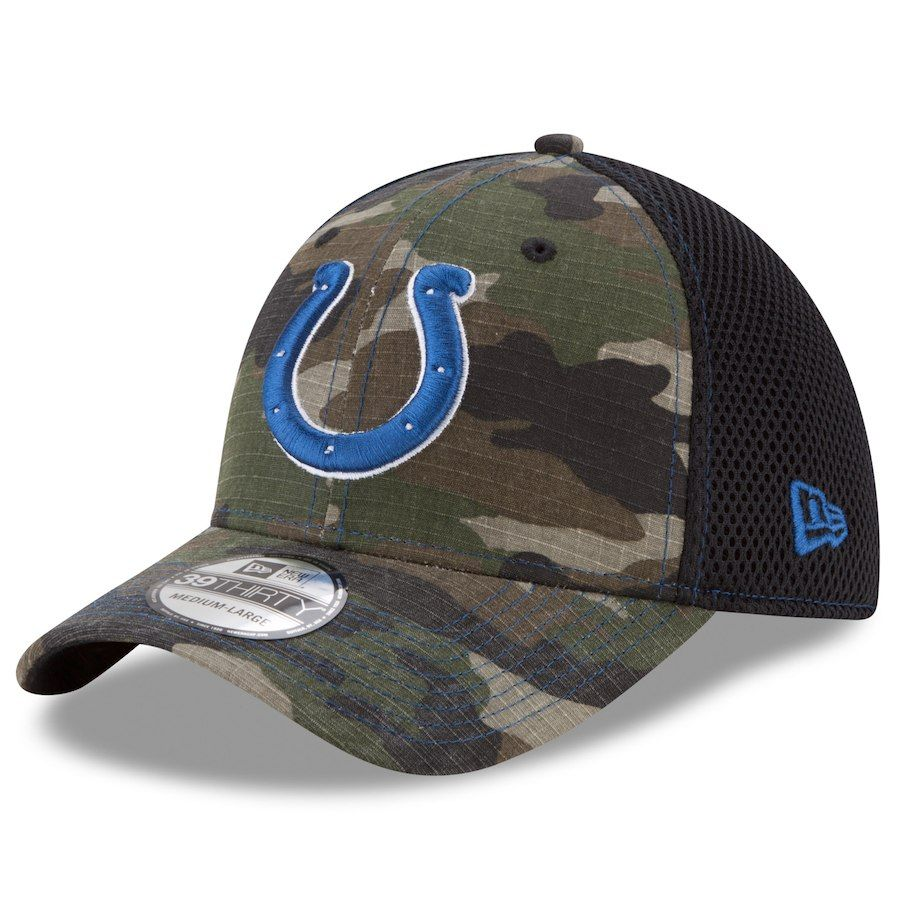 Men s Indianapolis Colts New Era Camo Woodland Shock Stitch Neo 39THIRTY  Flex Hat afeb06cf3