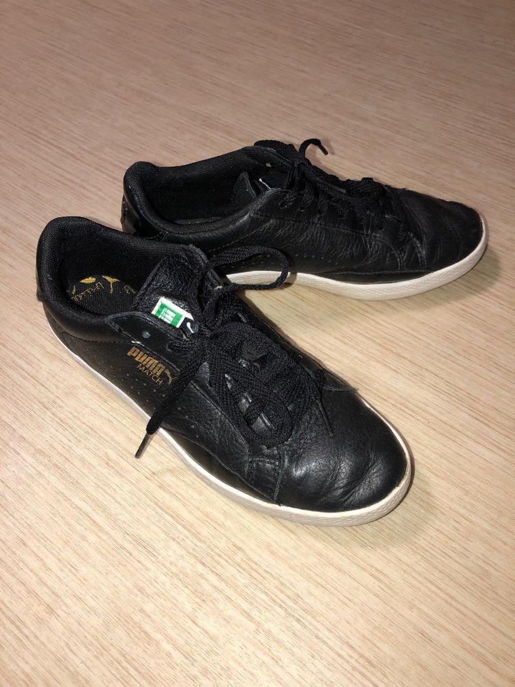 PUMA Black Leather Sneakers W/ Stylish