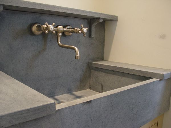 Soapstone Counter And Sink With Tall Backsplash
