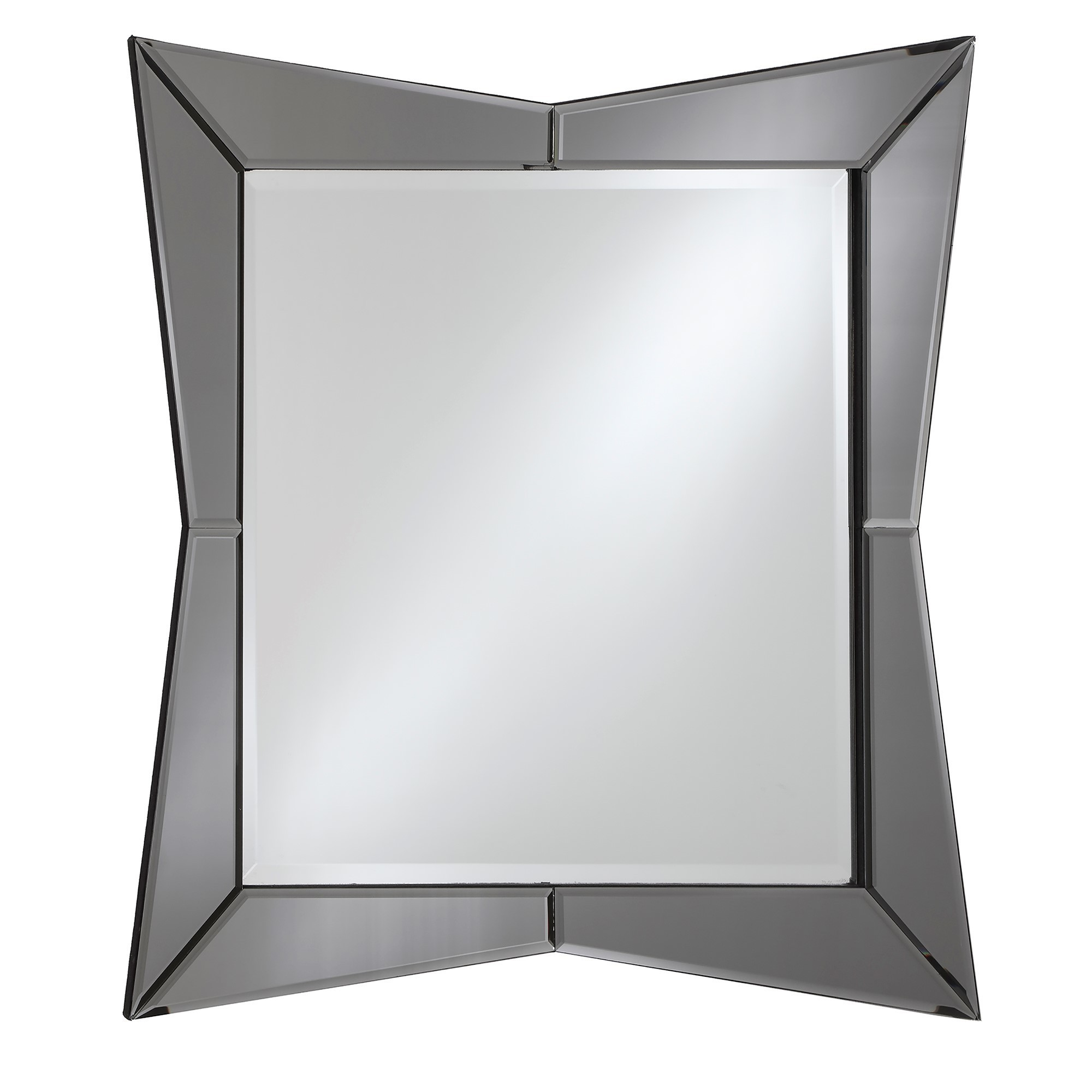 Square Beveled Frameless Wall Mirror With Geometric Abstract