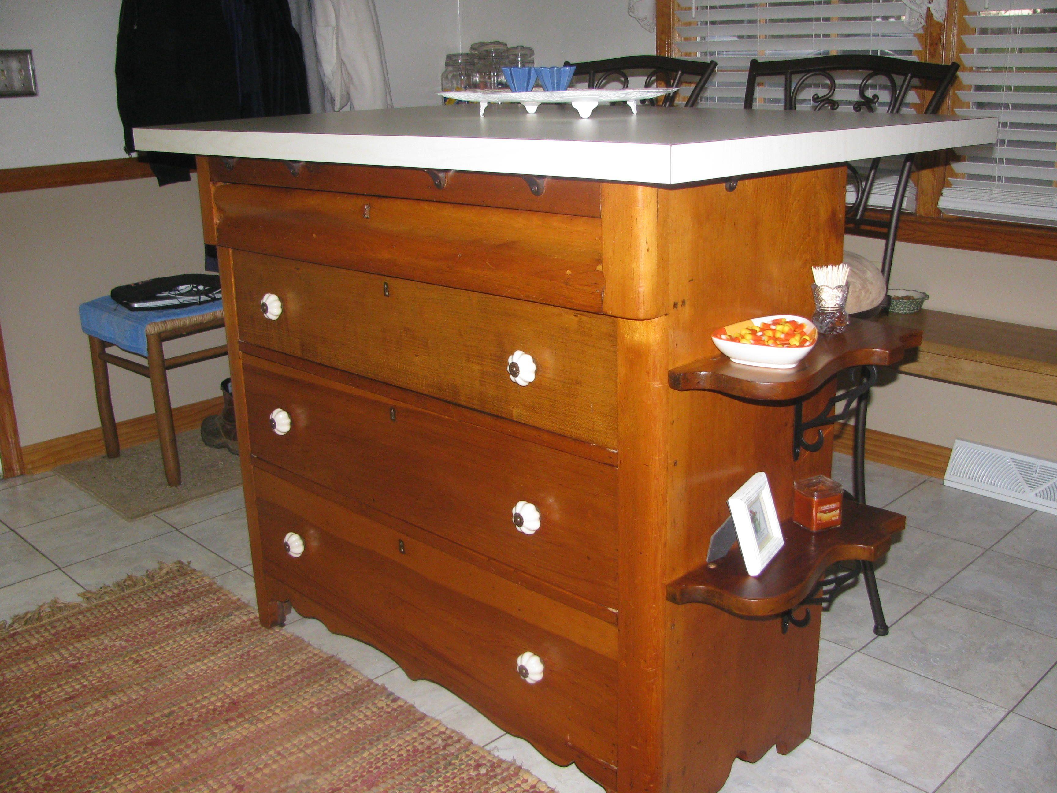Antique dresser made into kitchen island favorites