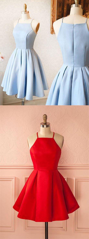 Simple cheap short light blue satin cute zipper back homecoming