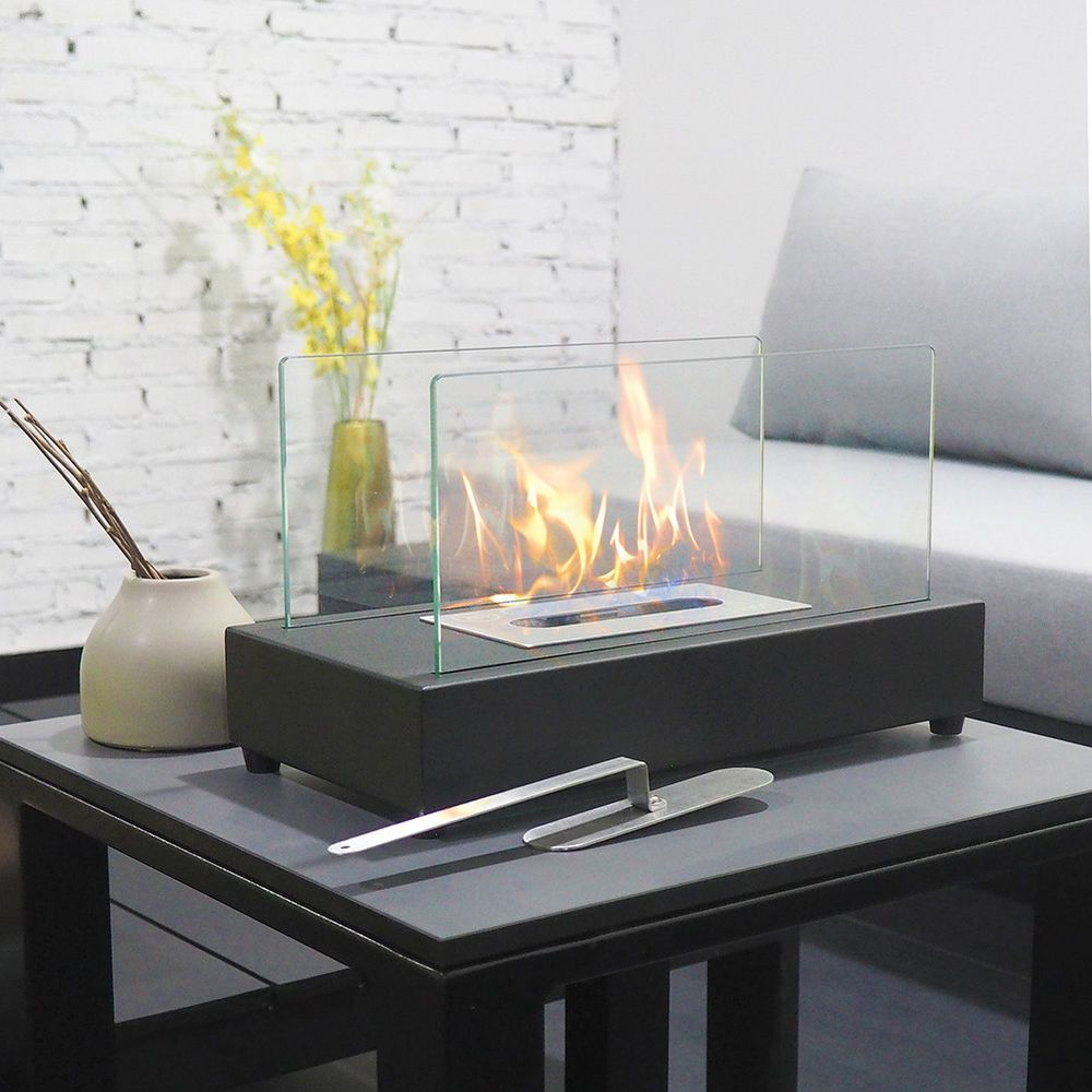 Rectangle Tabletop Bio Ethanol Fireplace Indoor Outdoor Fire Pit