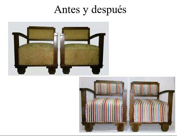 Butacas descalzadoras muebles restaurados pinterest butacas muebles restaurados y tapizado - Escabeles tapizados ...
